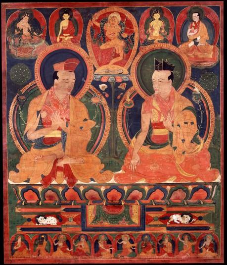Je Gampopa with 1st Karmapa, Dusum Khyenpa